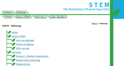 Screenshot of the sitemap page - Click to go to STEM site